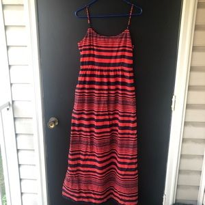 Gap Glinda Red Striped Maxi Dress Spaghetti Size 6
